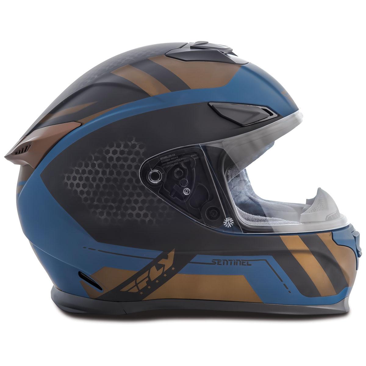 FLY Racing Street Sentinel Mesh Teal/Gold Full Face Helmet