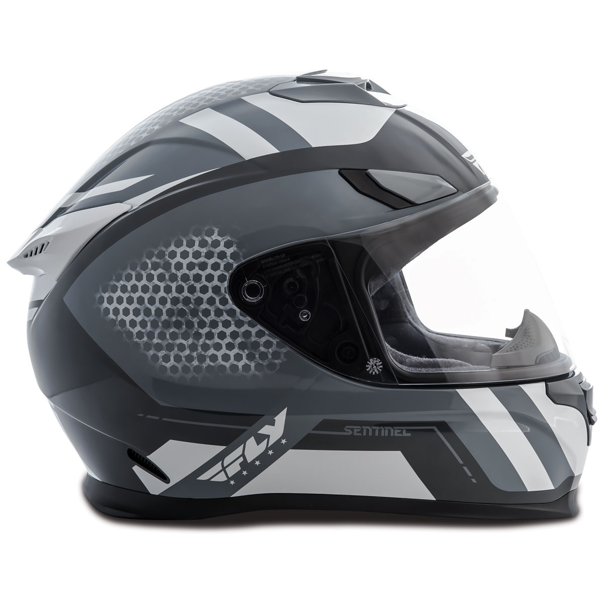 FLY Racing Street Sentinel Mesh Grey/White Full Face Helmet