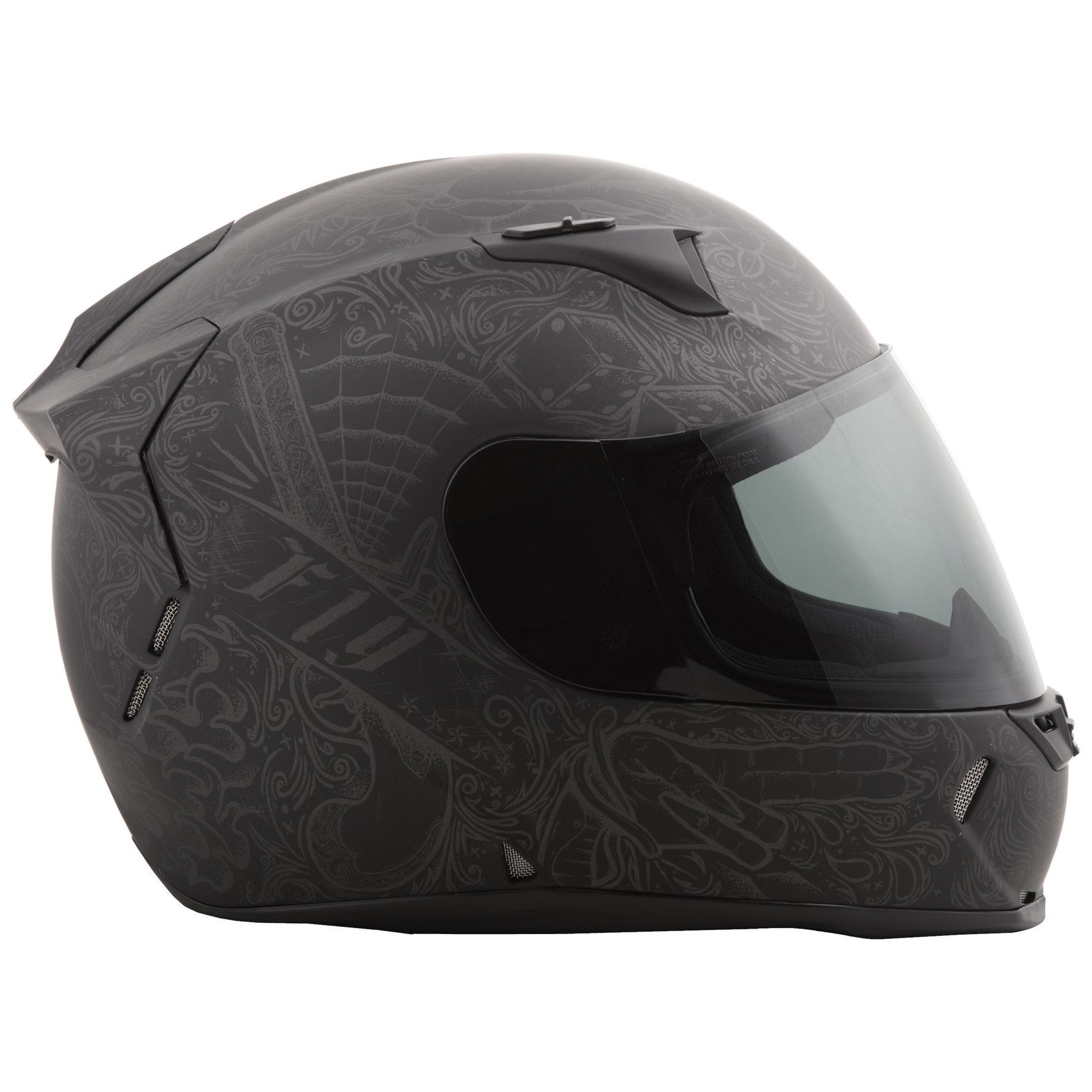 FLY Racing Street Revolt Ink'n Needle Matte Black Full Face Helmet -  73-8365XS