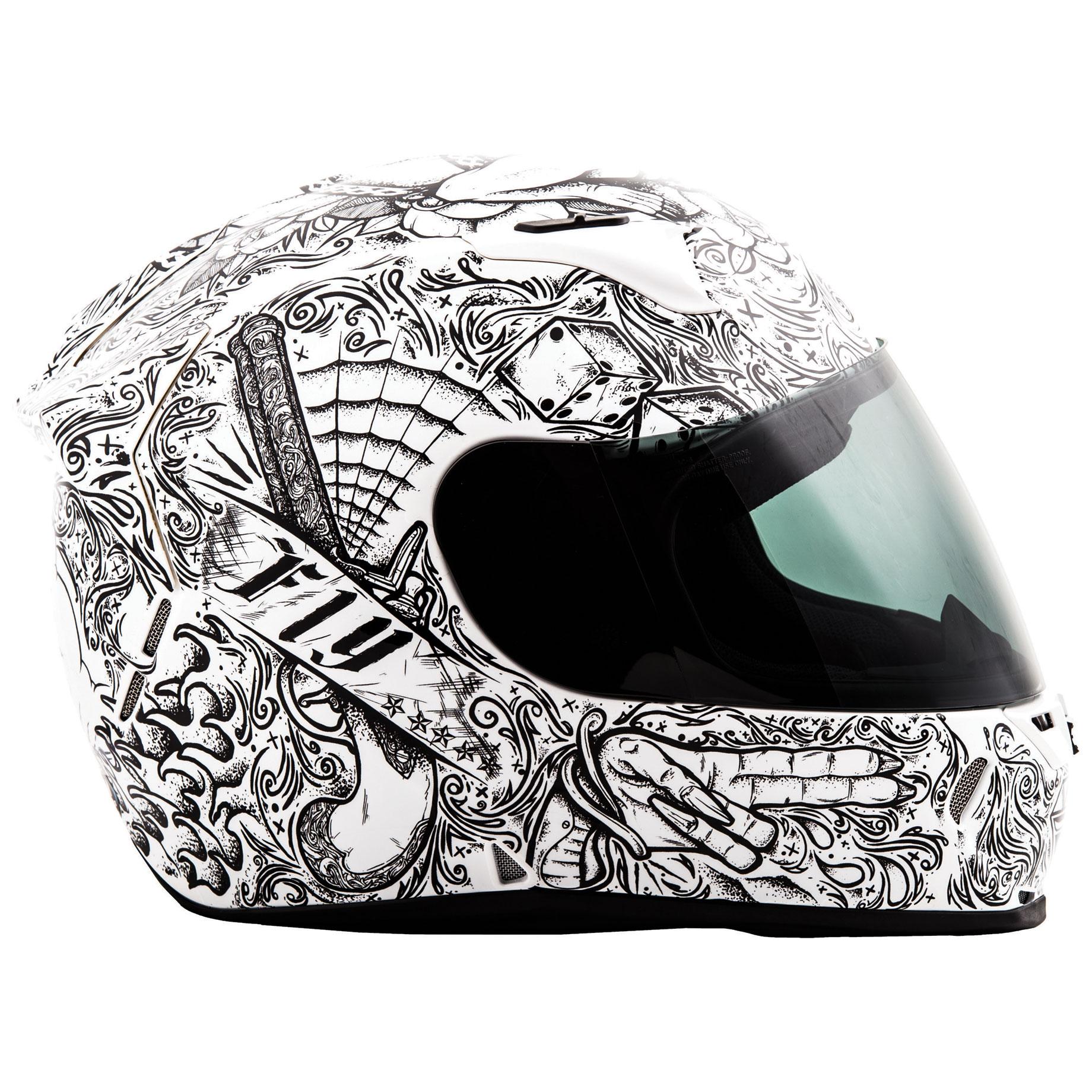 FLY Racing Street Revolt FS Ink'n Needle Gloss White Full Face Helmet