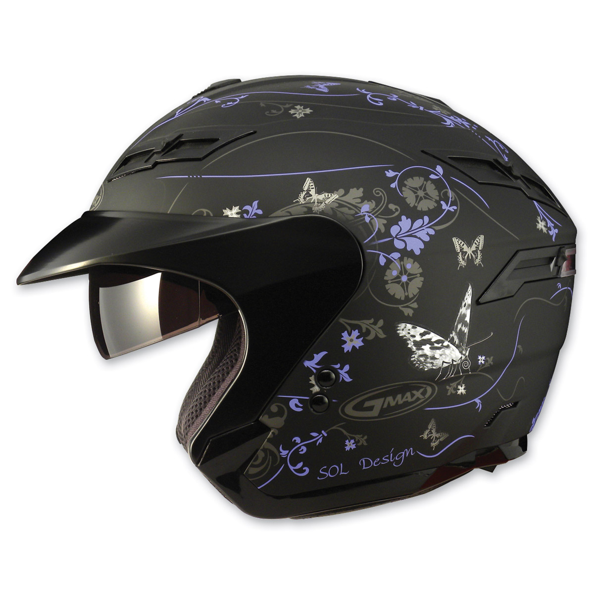 GMAX GM67 Butterfly Black and Purple Open Face Helmet