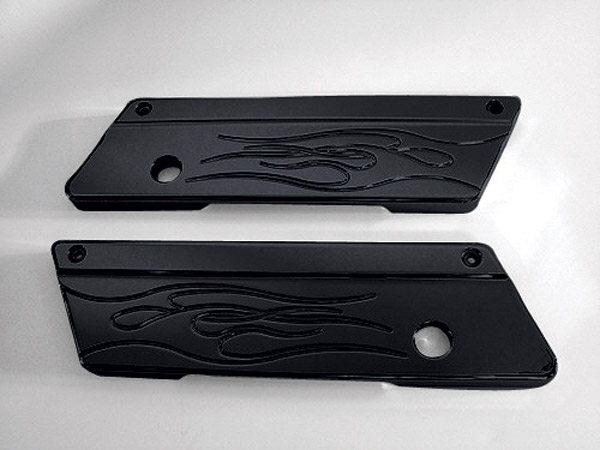 Joker Machine Flame Black Saddlebag Latch Covers