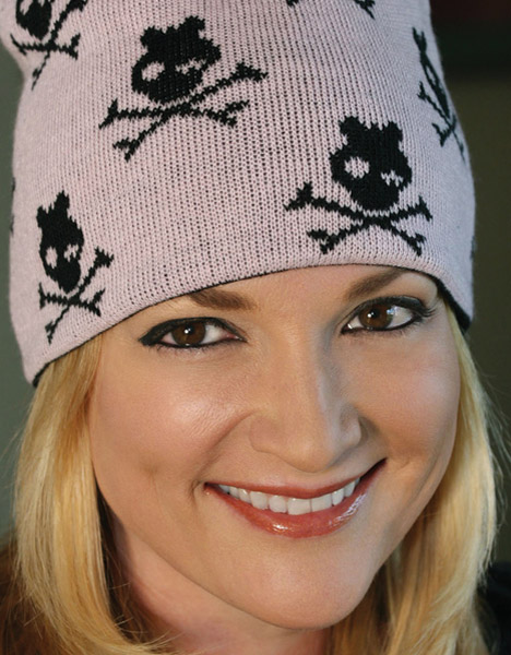 That's A Wrap Reversible Skull Bow Wink Beanie