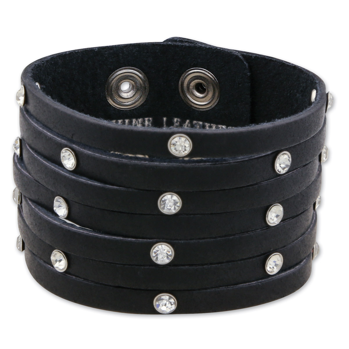 That's A Wrap Strappy Rhinestone Leather Cuff Wristband