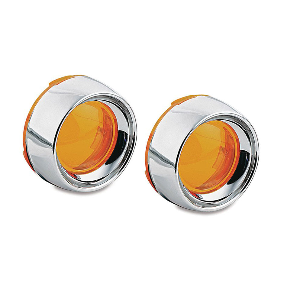 Kuryakyn Deep Dish Chrome Bezels with Lenses for Bullet Turn Signals