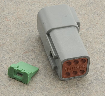 namz custom cycle deutsch 6-pin gray receptacle wiring connector