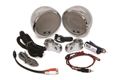 Rumble Road 100W Ultra Speaker Kit, Chrome With 1″ Clamps