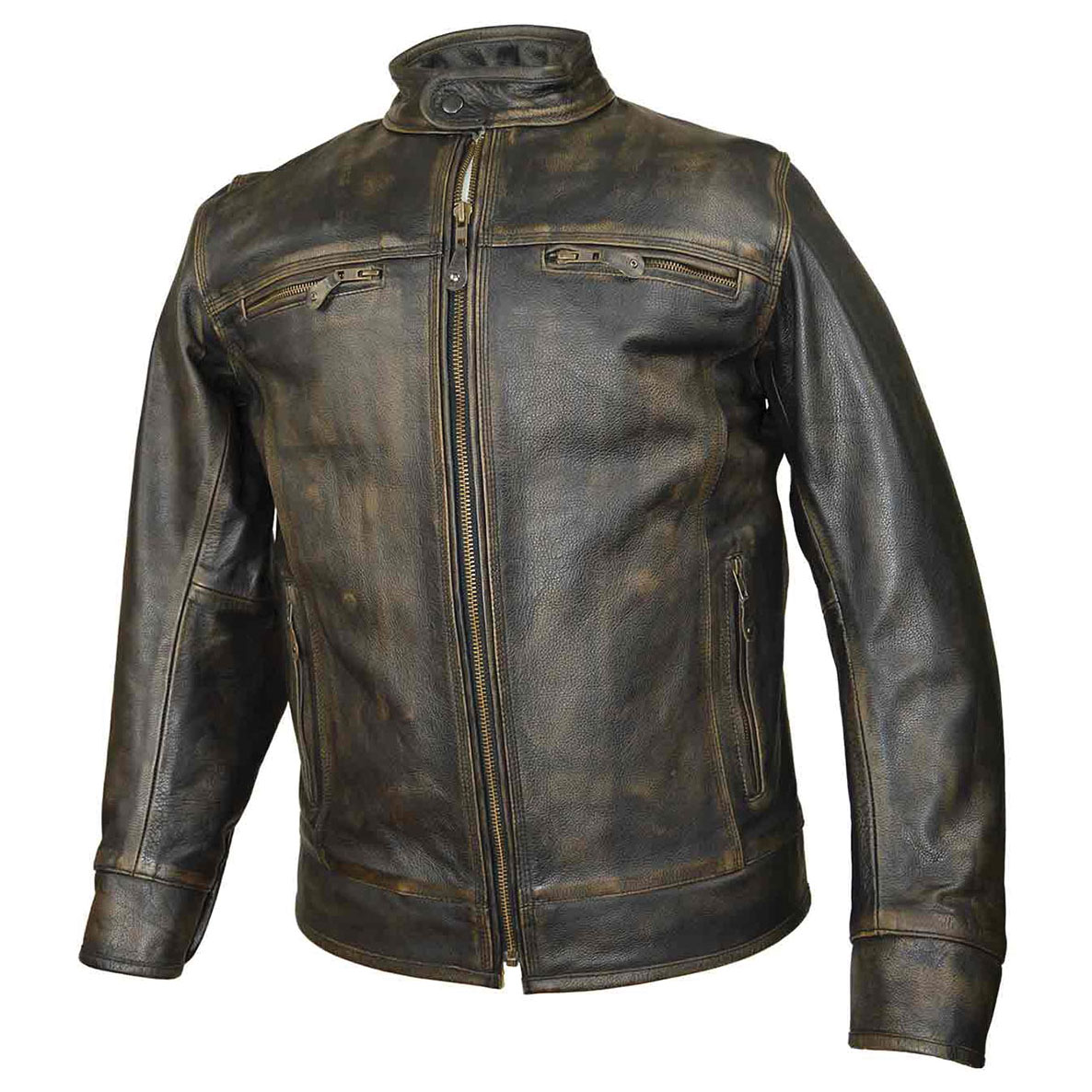 Vance Leathers Men's Distressed Brown Leather Jacket