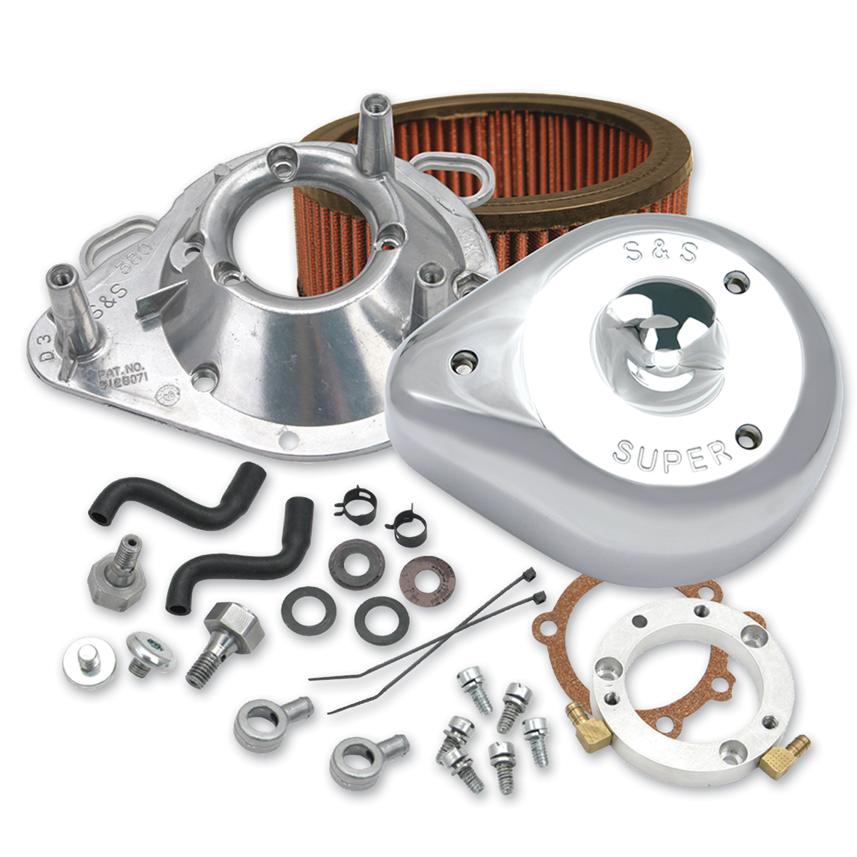 S&S Cycle Teardrop Air Cleaner Kit Chrome