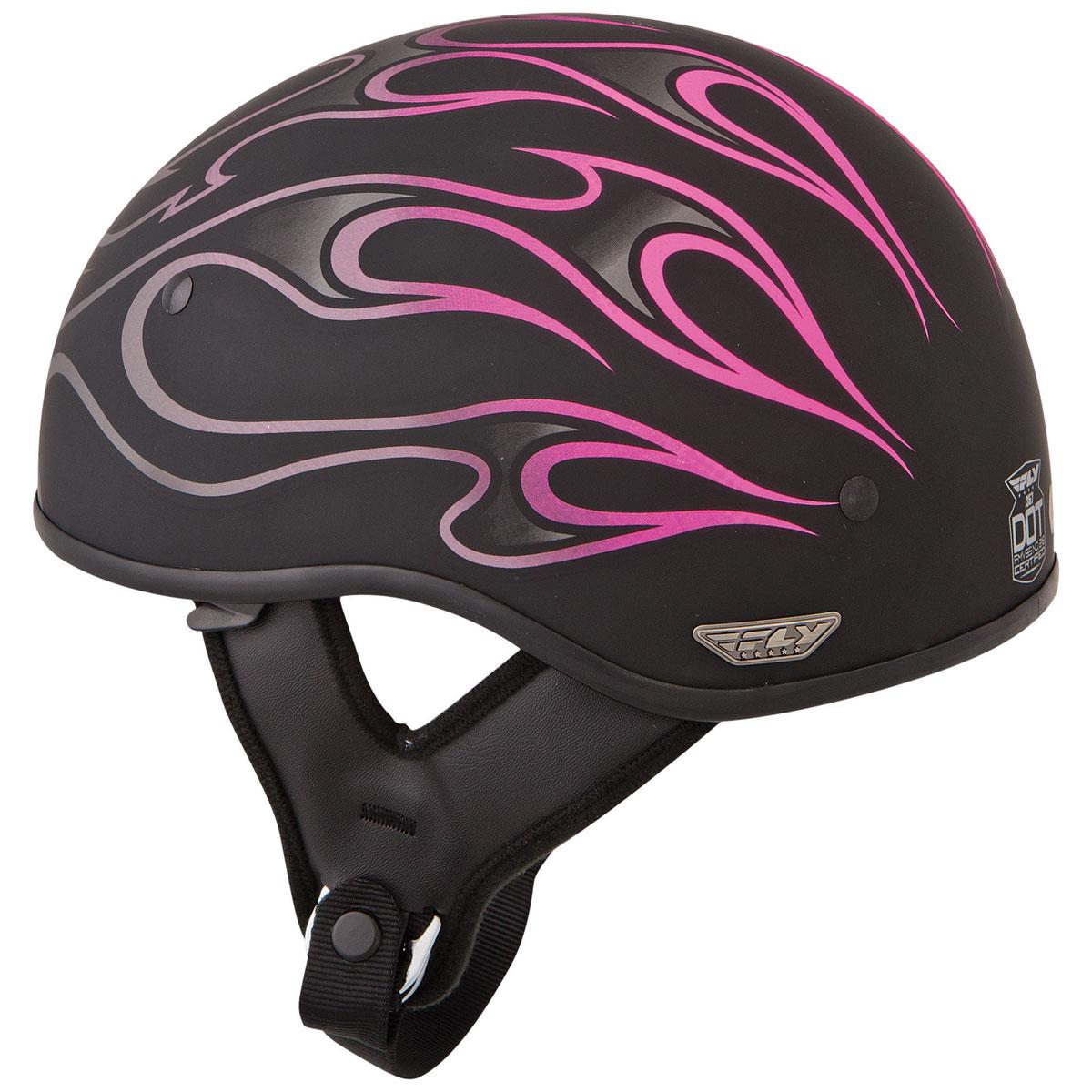 FLY Racing Street .357 Pink Flame Half Helmet