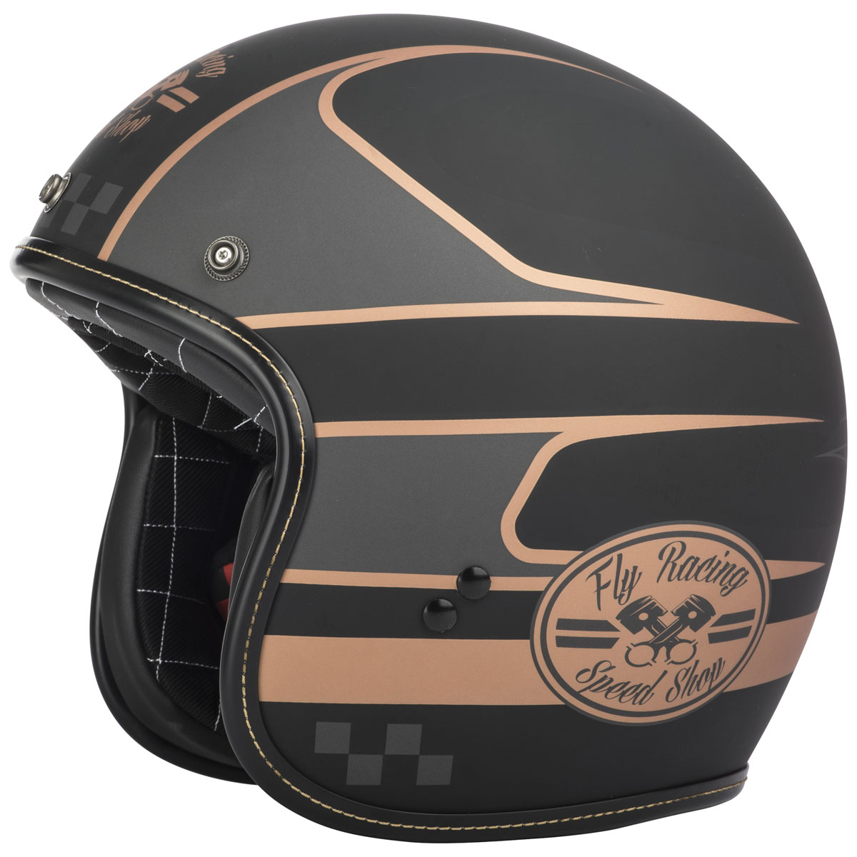 FLY Racing Street .38 Wrench Black/Copper Open Face Helmet
