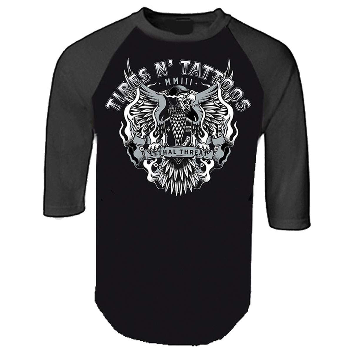 Lethal Threat Men's Tires N' Tattoos Black/Gray Raglan Shirt