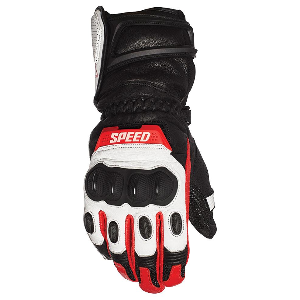 Speed and Strength Men's Revolt White/Black/Red Leather Gloves