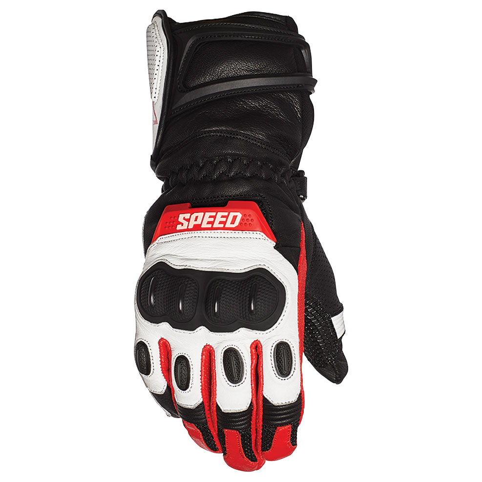 Speed and Strength Men's Revolt White/Black/Red Leather Gloves