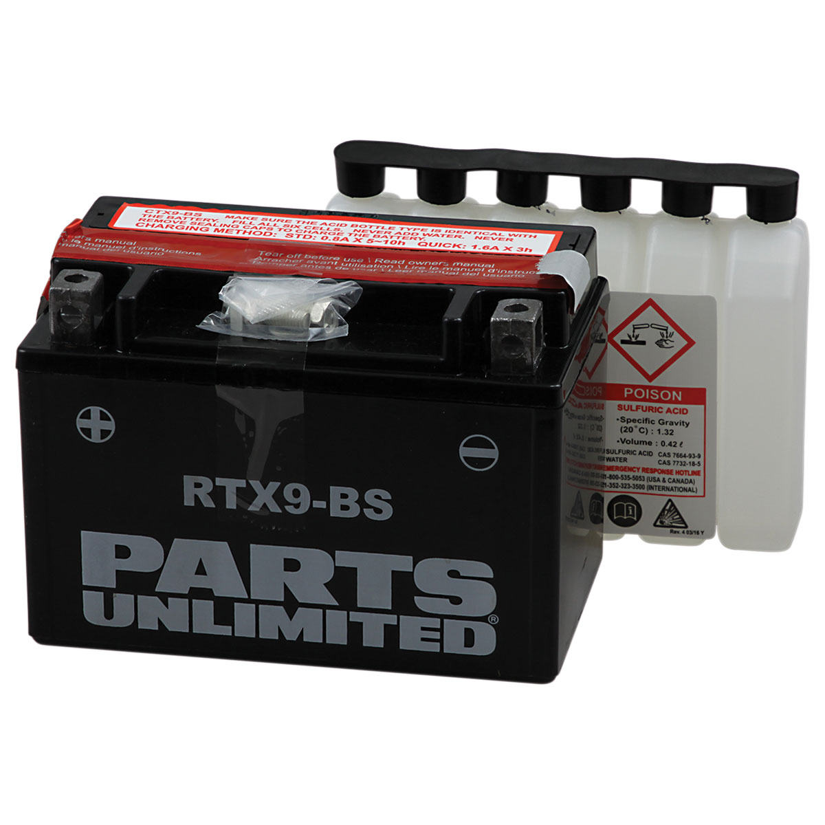 Parts Unlimited Standard AGM Battery