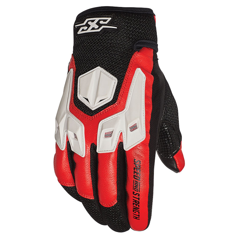 Speed and Strength Men's Insurgent Red/Black/White Leather Gloves