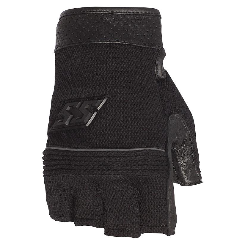 Speed and Strength Men's Half Nelson Black Leather/Mesh Fingerless Gloves