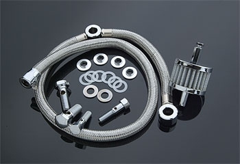 J&P Cycles® Braided Hose Crankcase Breather Kit