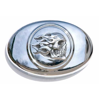 Chrome Dome Flaming Skull Air Cleaner Insert