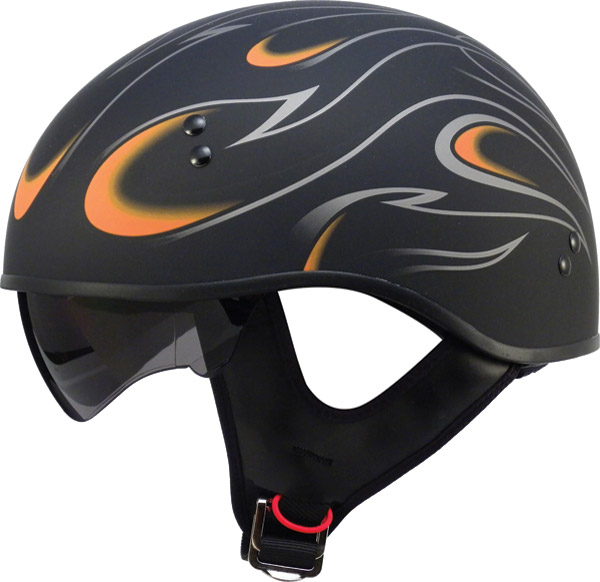 GMAX GM55 Flame Flat Black and Orange Half Helmet
