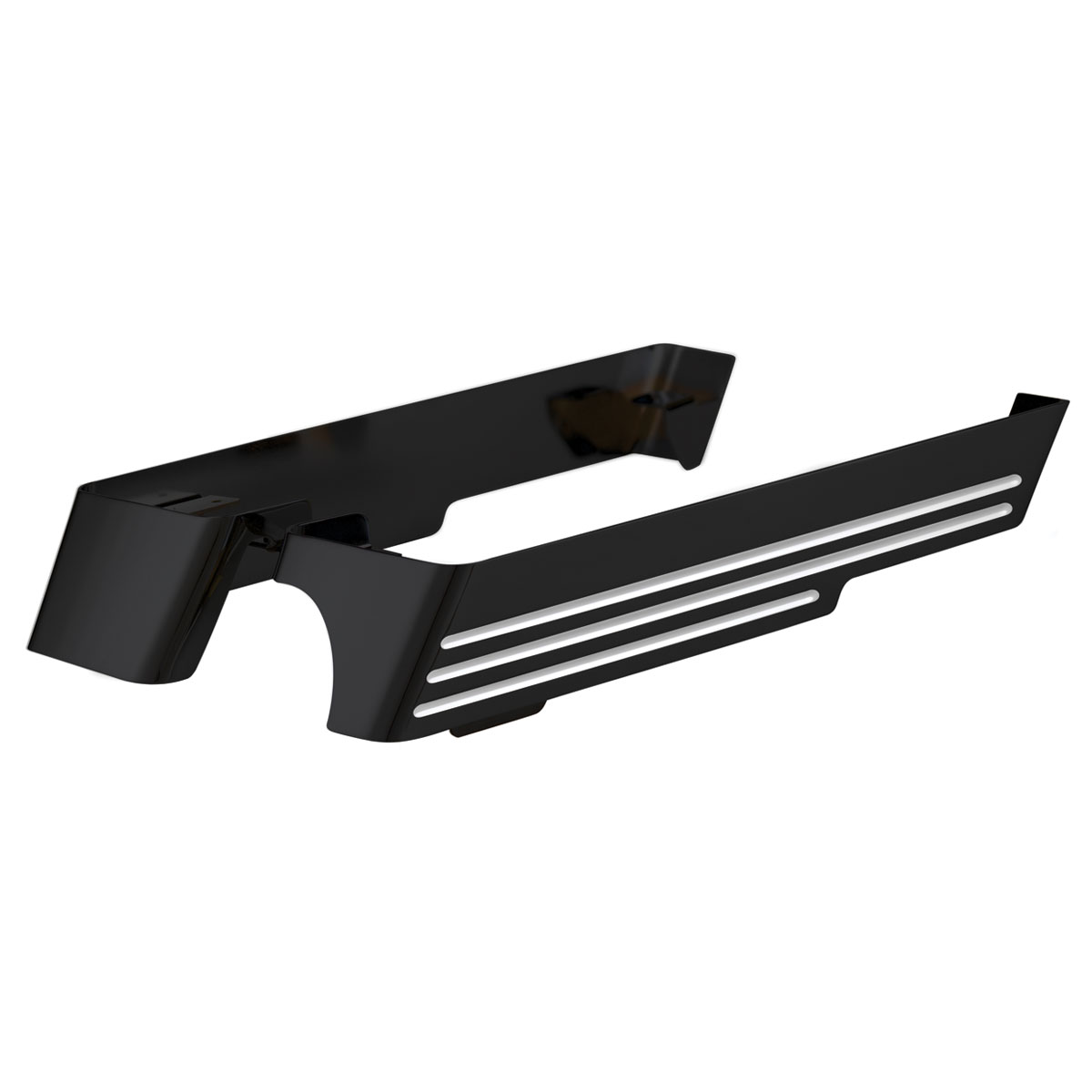 Black Billet Saddlebag Extensions with Cut-Outs, for Right Exhausts