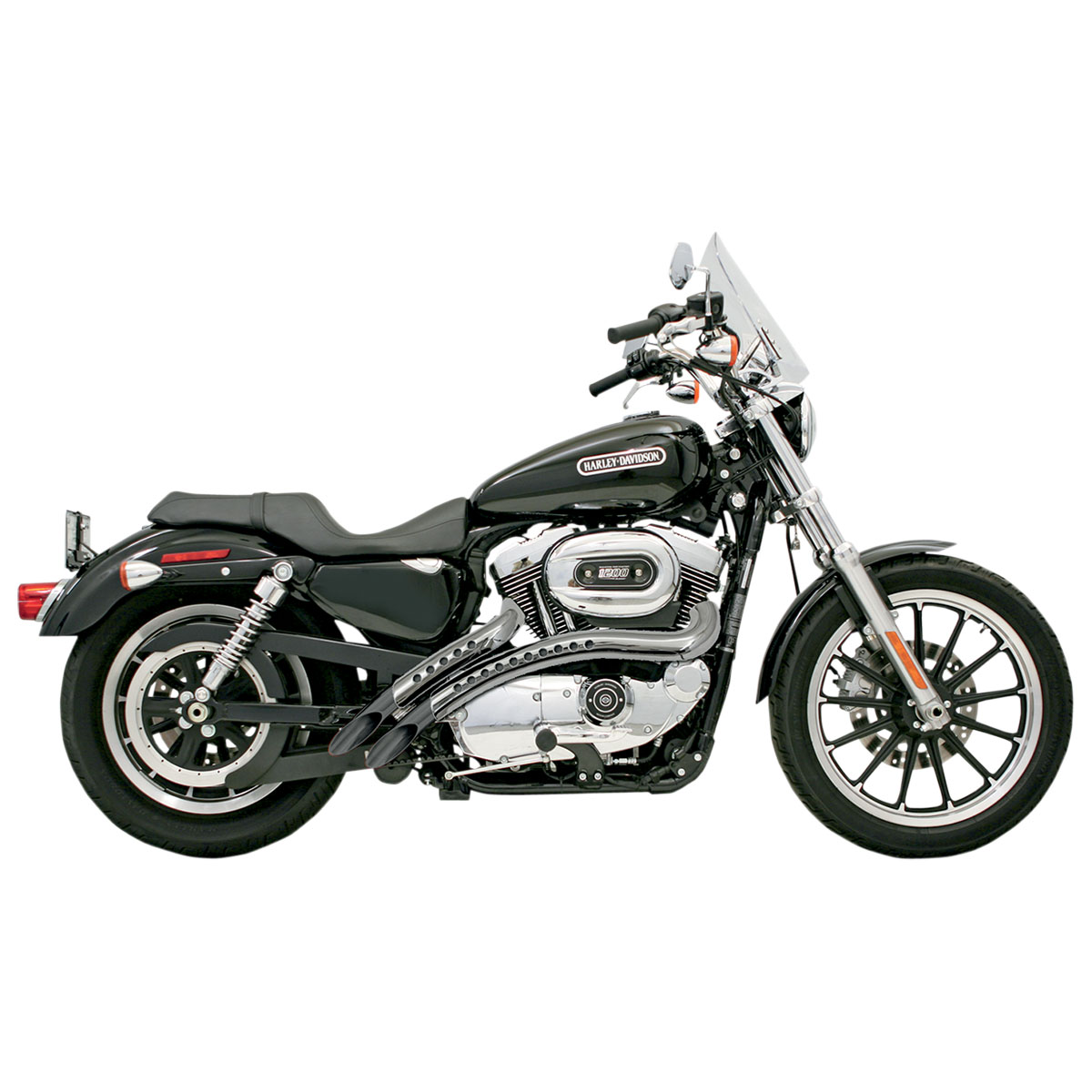 Bassani Black Radial Sweepers with Chrome Heat Shields