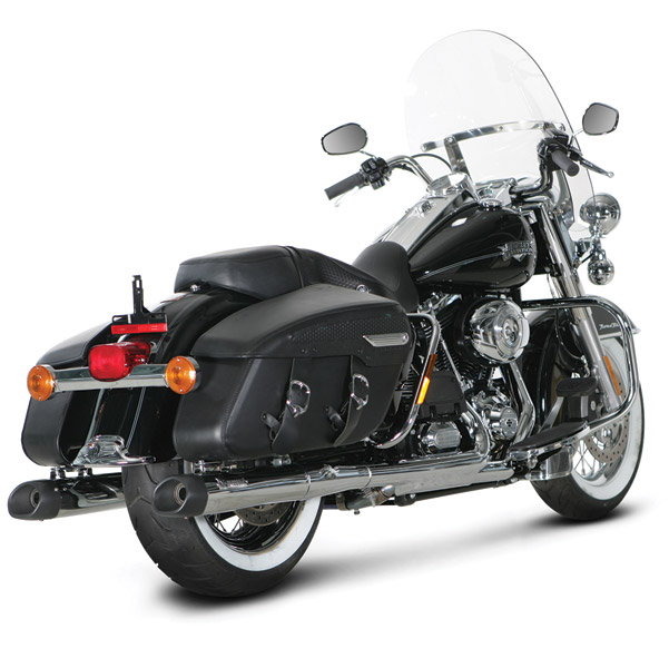 Akrapovic Slip-On Chrome Mufflers with Black End Caps for Touring Models