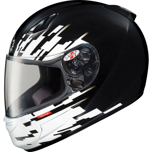Joe Rocket RKT-Prime Vector Black and White Full Face Helmet
