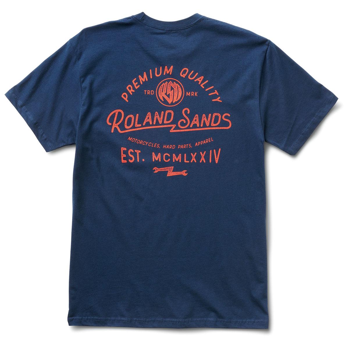 Roland Sands Design Apparel Men's Roman 74 Navy Blue T-Shirt
