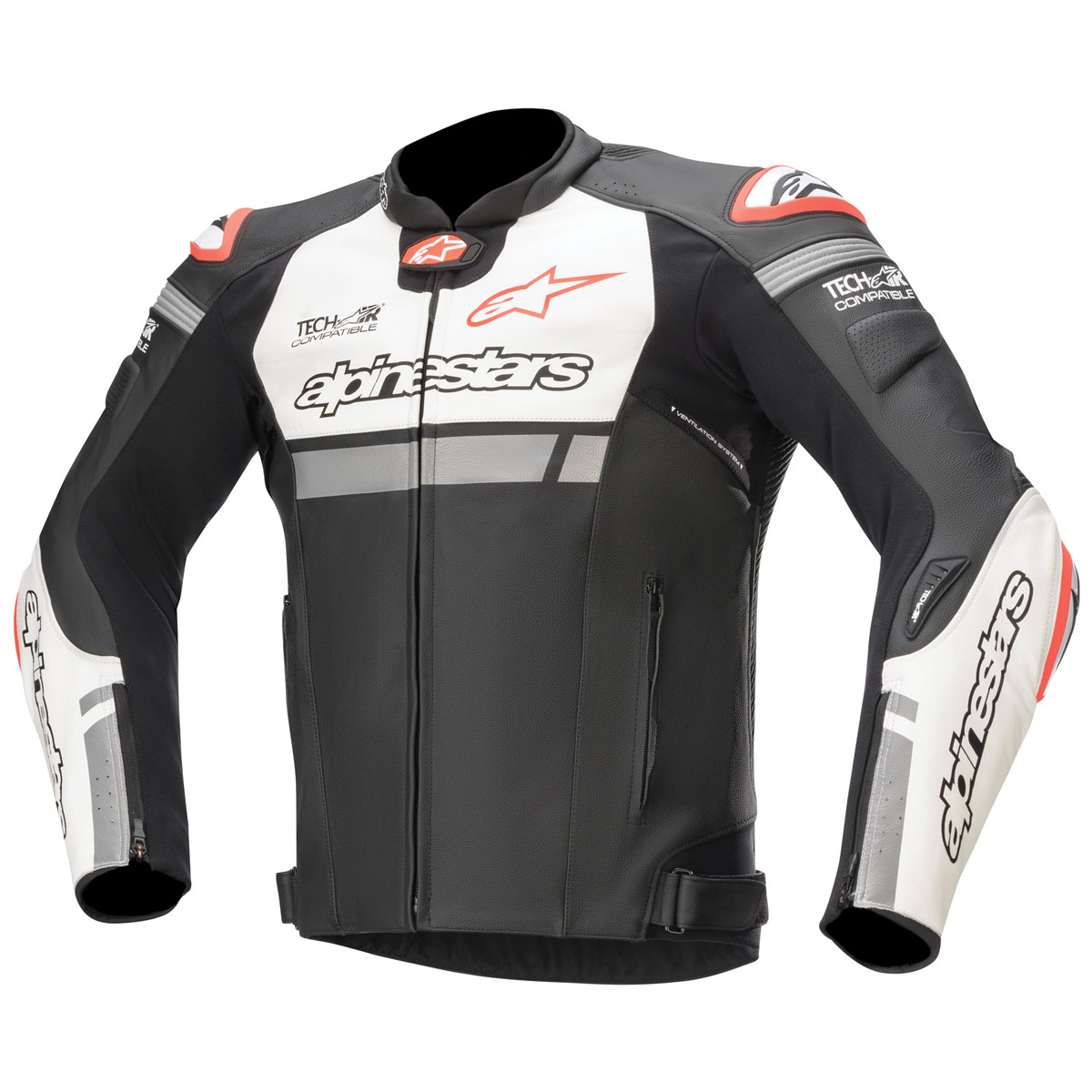 Alpinestars Men's Tech-Air Street Compatible Missile Ignition Black/White/Red Leather Jacket