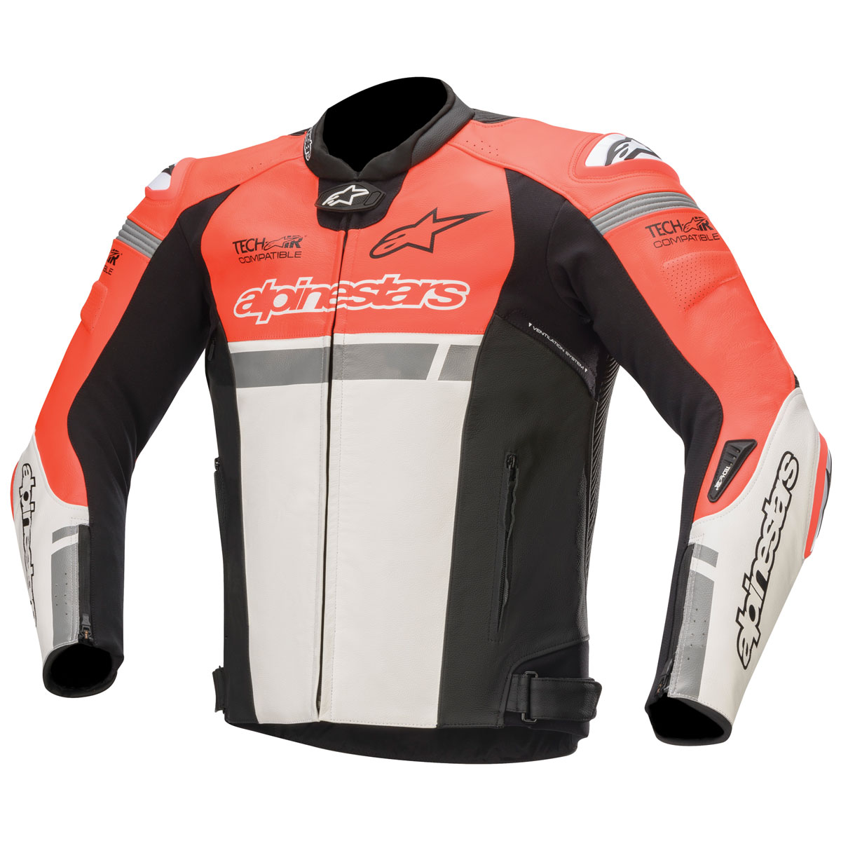 Alpinestars Men's Tech-Air Street Compatible Missile Ignition Red/White/Black Leather Jacket