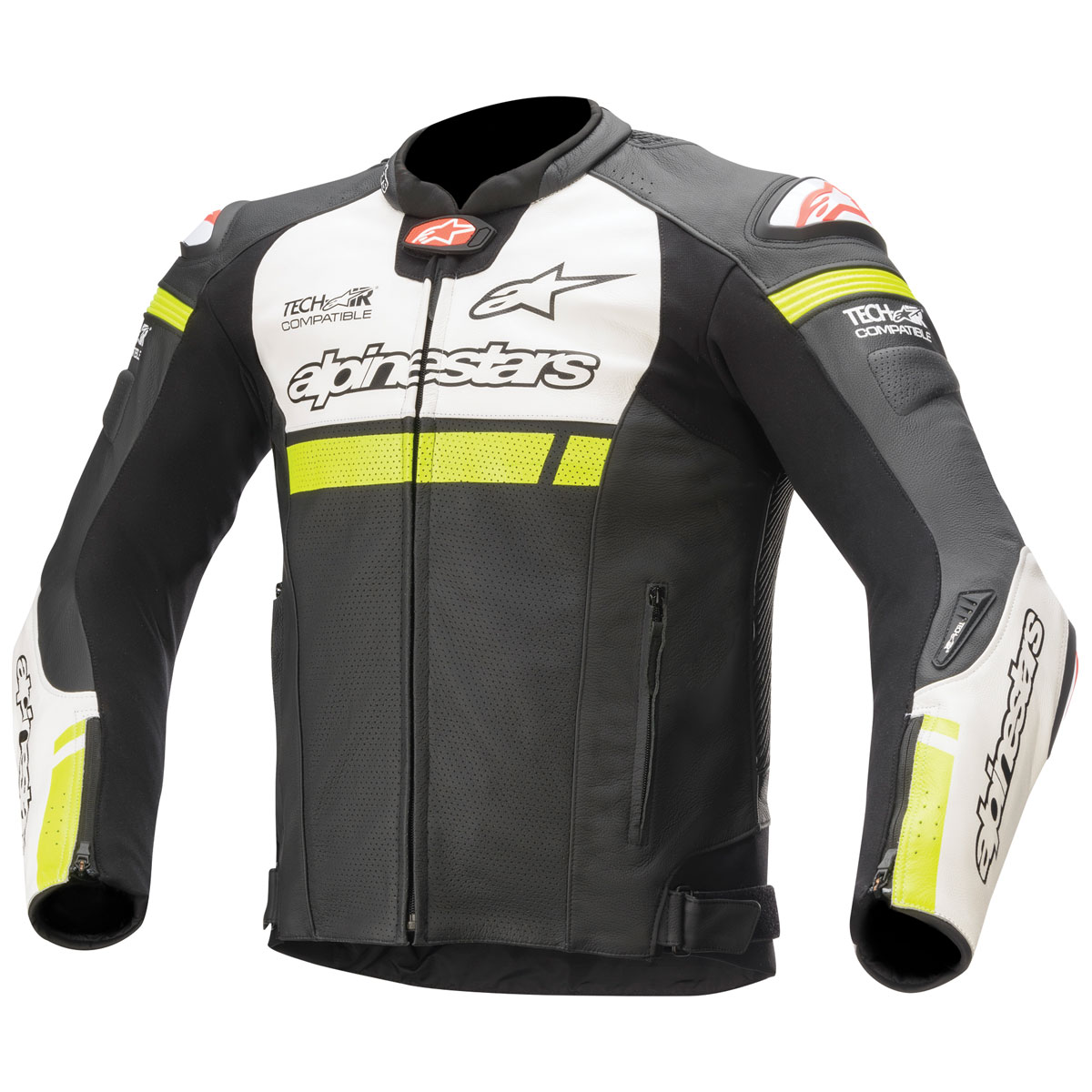 Alpinestars Men's Tech-Air Street Compatible Missile Ignition Black/White/Yellow Leather Jacket
