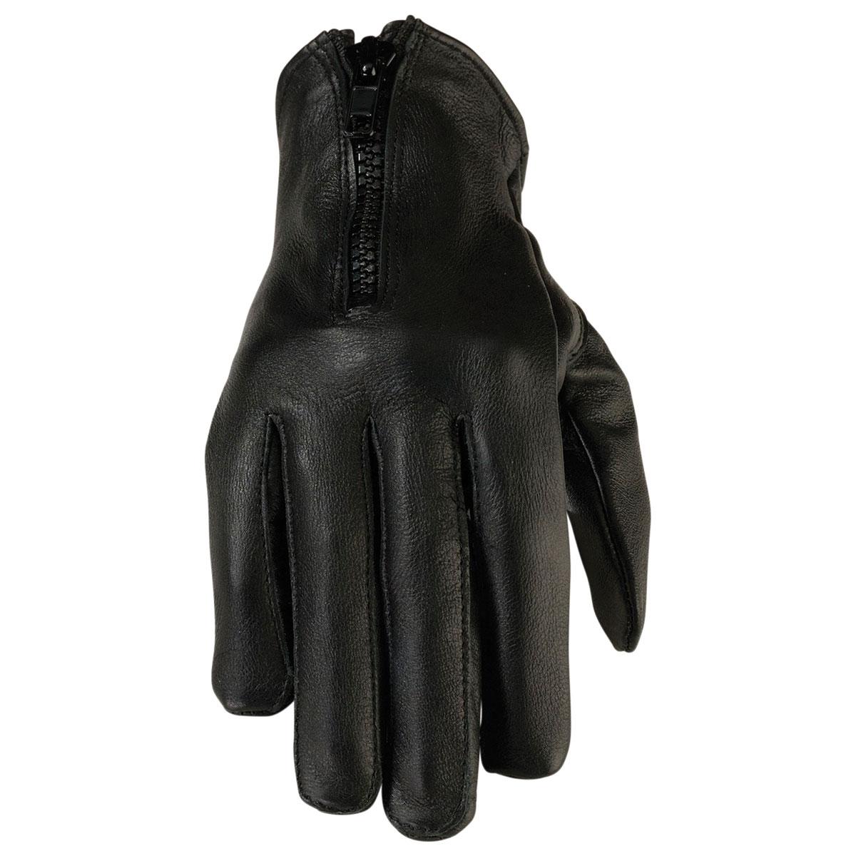 Z1R Women's 7MM Black Leather Gloves