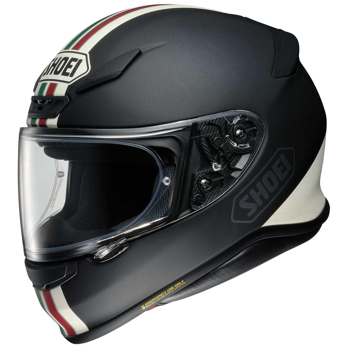 Shoei RF-1200 Equate Matte Black with Green Stripe Full Face Helmet