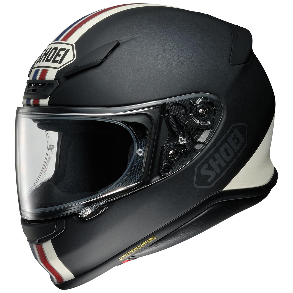 Shoei RF-1200 Equate Matte Black with Blue Stripe Full Face Helmet