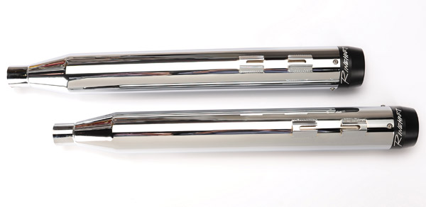 Rinehart Racing 3-1/2″ Slip-On Mufflers Chrome w/ Black End Caps