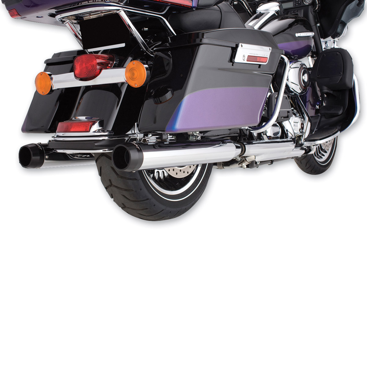 Rinehart Racing 4″ Slip-on Mufflers Chrome w/ black end caps