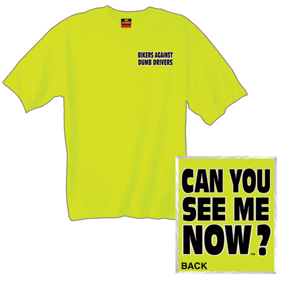 Hot Leathers Biker's Against Dumb Drivers Safety Green T-Shirts