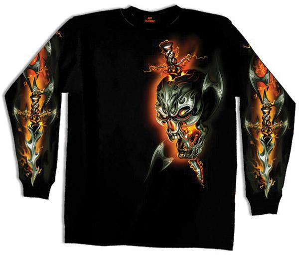 Hot Leathers Electric Skull Long-Sleeve Black Biker Shirt