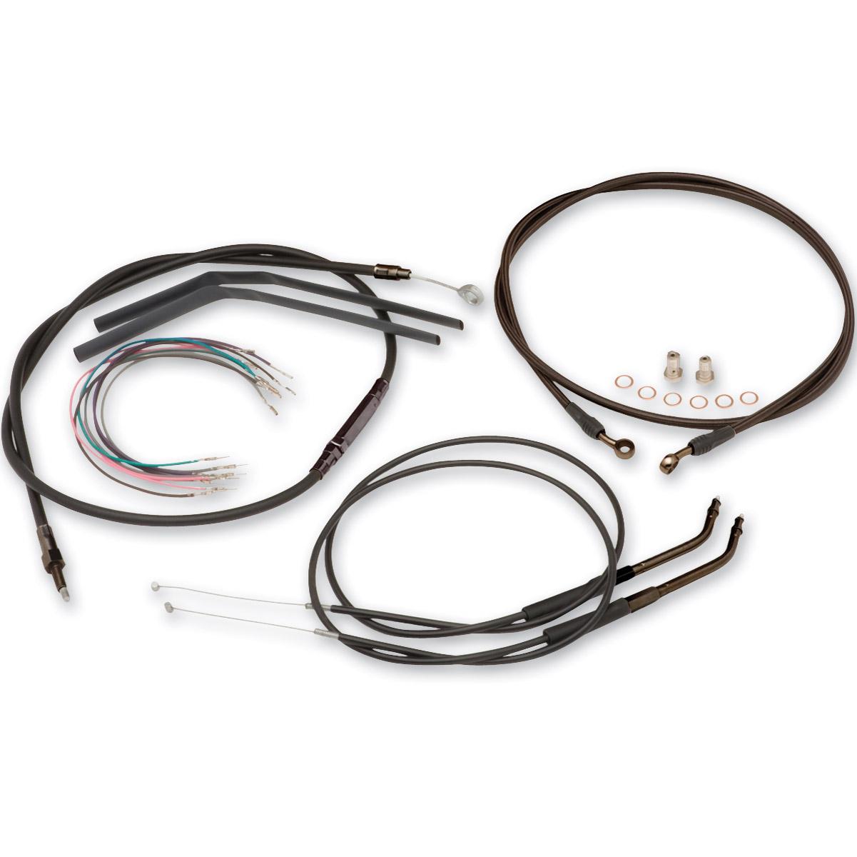 burly brand black 16 u2033 ape hanger cable  brake kit