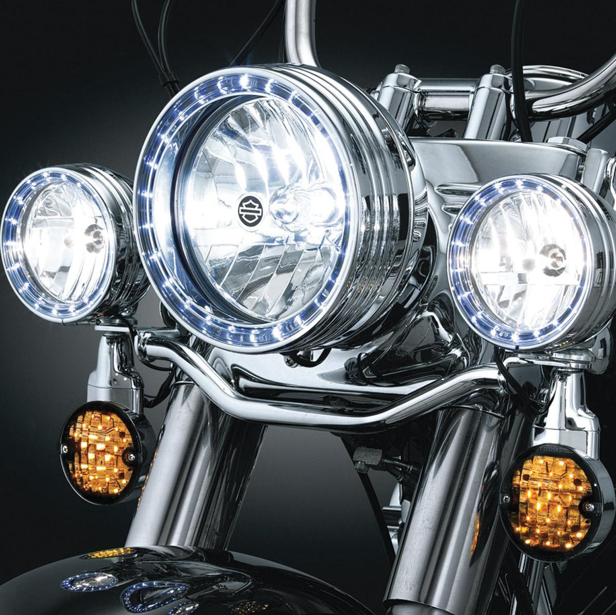 kuryakyn 4 1 2 led halo chrome passing lamp trim ring 446 512