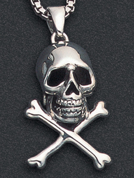 Wildthings Stainless Steel Necklace Skull and Cross Bones with 20″ Chain