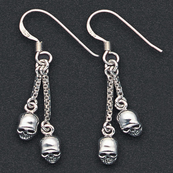 Wildthings Stainless Steel Earrings Skulls on Chains