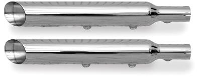 Rush 3″ Slip-On Chrome Baloney Cut Mufflers 2.25″ Baffles