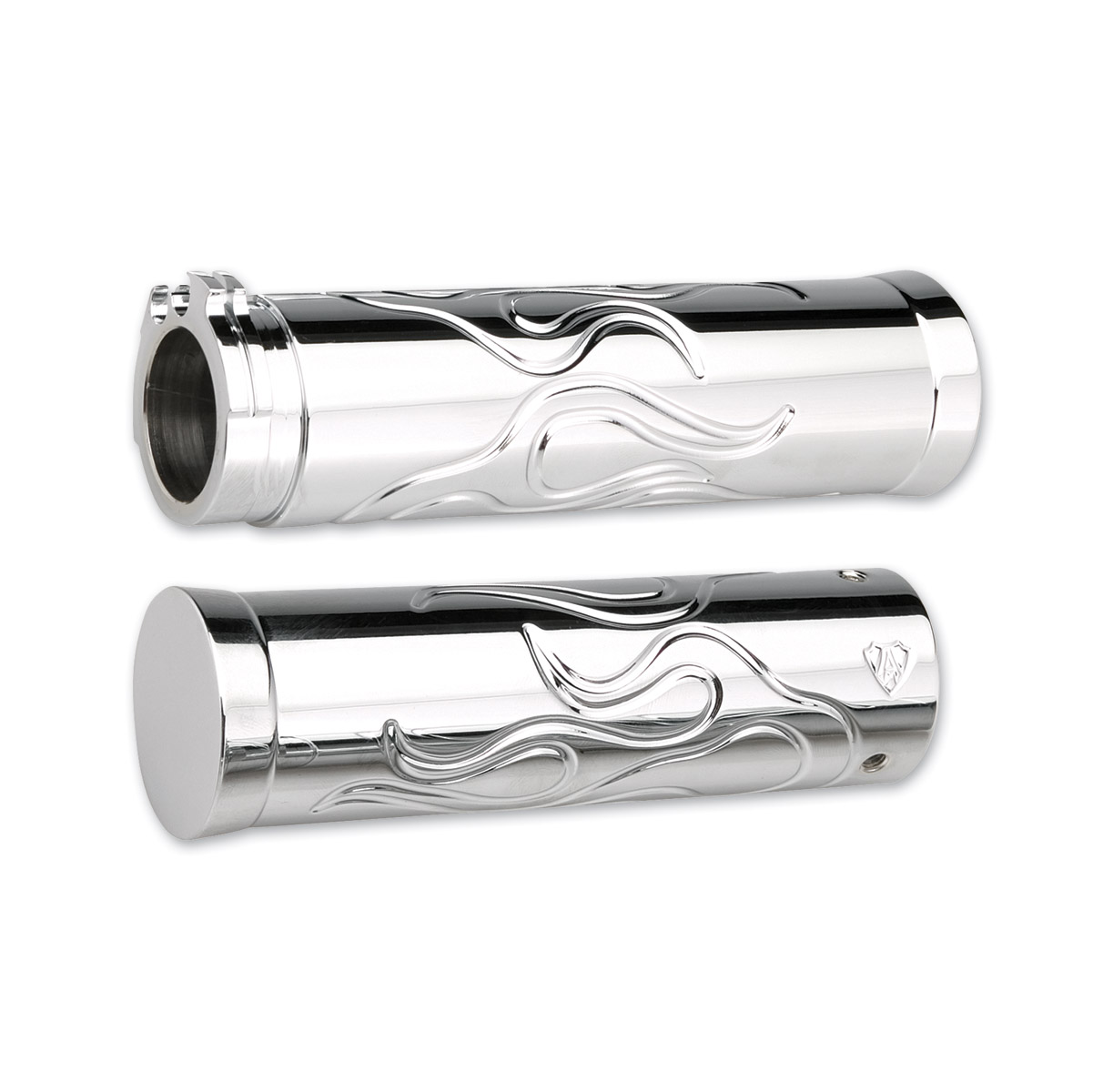 Arlen Ness Flamed Style Chrome Grip Set