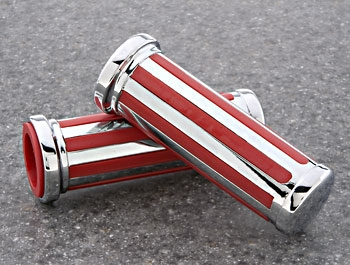 J&P Cycles® Custom Red/Chrome Grip Set