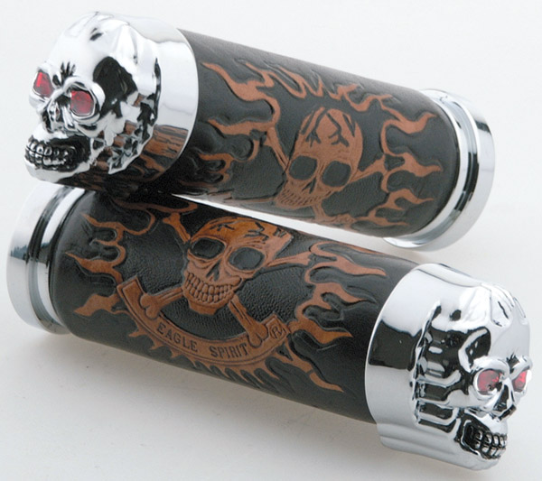 J&P Cycles® Skull Grip Set with Red Eyes