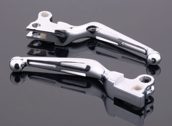 Drag Specialties Chrome 3-Slot Wide Blade Lever Set