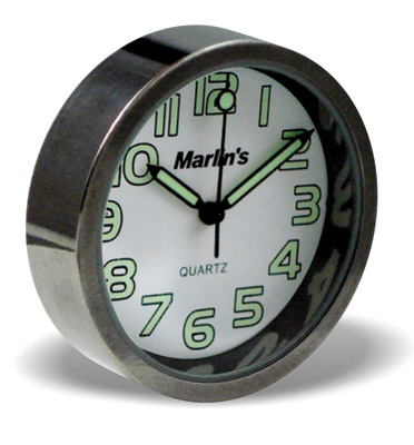 Marlin's Compact White Analog Clock with Easy Read Numbers