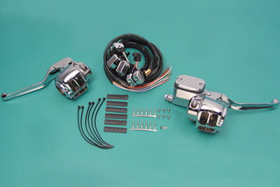 V-Twin Manufacturing Chrome Handlebar Control Kit for Single Disc Models